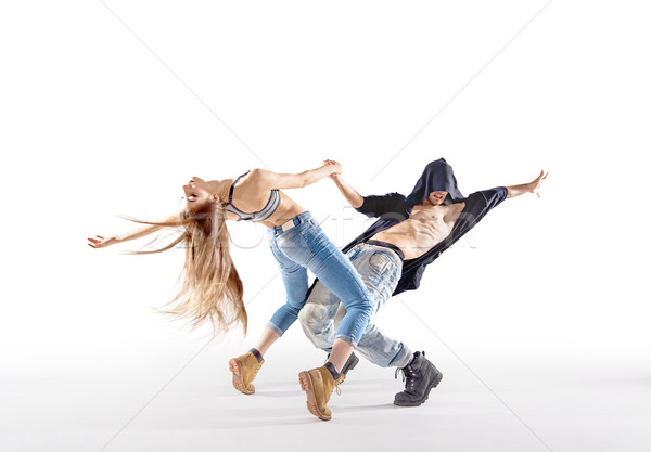 Two talented dancers practising together Stock photo © konradbak