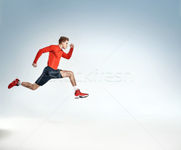 Portret ambitieus jonge atleet knap achtergrond Stockfoto © konradbak
