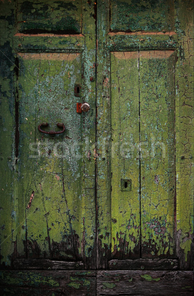 Old wooden door in an italian village Stock photo © konradbak