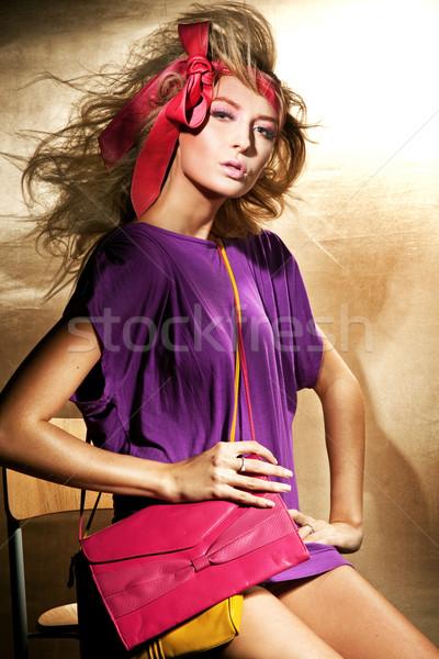 Pin вверх женщину красоту молодые голову Сток-фото © konradbak