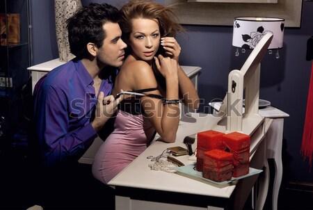Portré gyönyörű fiatal szexi nő elegáns szoba Stock fotó © konradbak