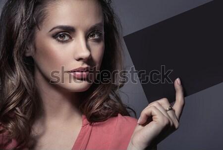 Bayan mükemmel makyaj parça kâğıt Stok fotoğraf © konradbak