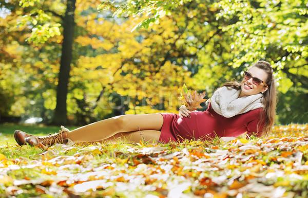 Woman enjouing the golden autumn Stock photo © konradbak