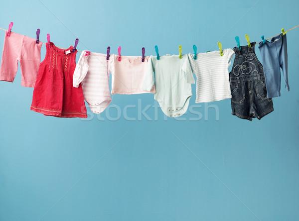 Nedves ruházat száraz család kék élet Stock fotó © konradbak