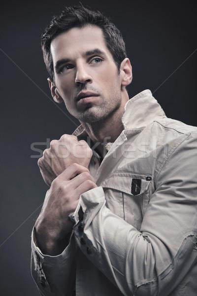 Portret knappe man mode haren achtergrond mannen Stockfoto © konradbak