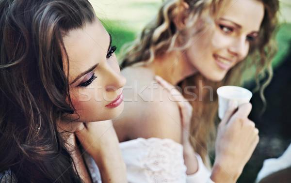 2 女性 昼休み 女性 少女 リラックス ストックフォト © konradbak
