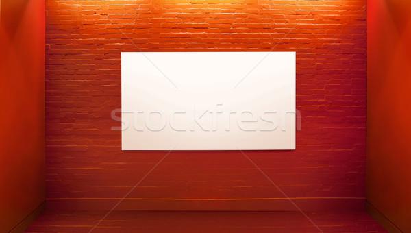 Picture presenting white board in art gallery Stock photo © konradbak
