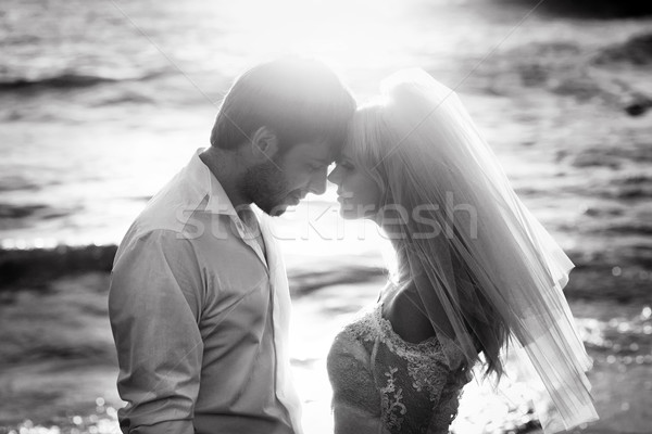 Black&white portrait of young newlyweds Stock photo © konradbak