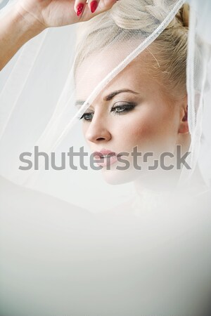 Vogue style photo of a blonde Stock photo © konradbak