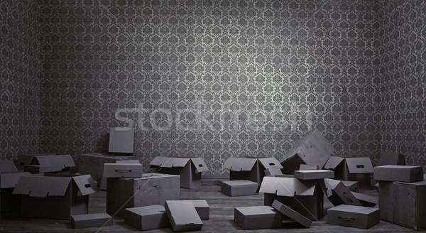 Old rusty interior with many empty cardboard boxes Stock photo © konradbak