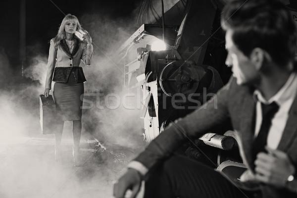 Black&white photo of classic meeting Stock photo © konradbak