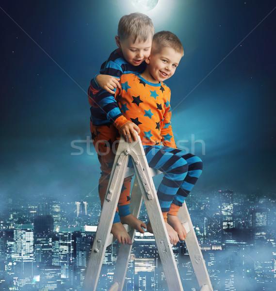 Stockfoto: Twee · broers · magie · ladder · weinig · hemel