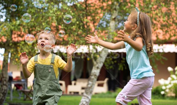 Foto stock: Ninos · jugando · jardín · verano · escuela · pelo