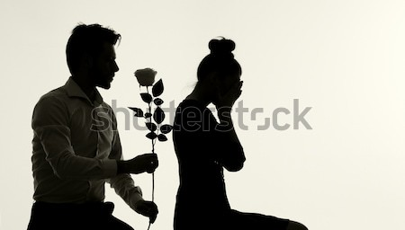 Foto presenteren voorstel foto bloem meisje Stockfoto © konradbak