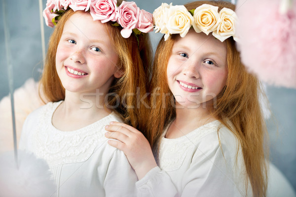 Two little redhead sisters together Stock photo © konradbak