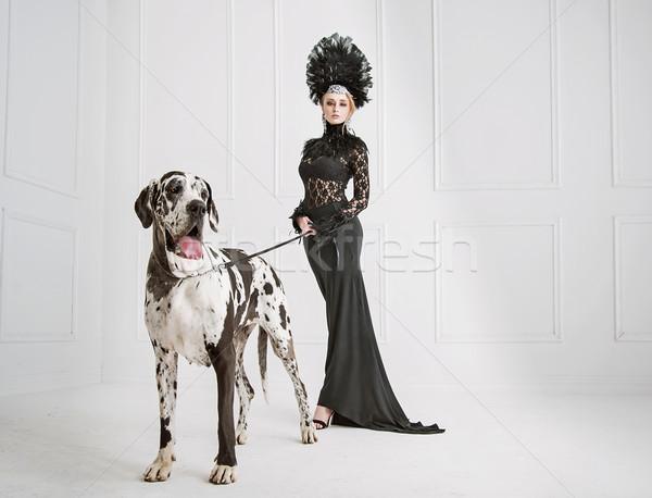 Dame noir accueillant chien grand amour Photo stock © konradbak