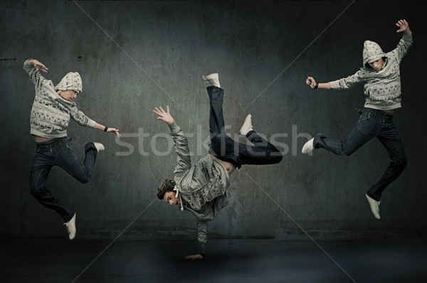 Three hip hop dancers Stock photo © konradbak