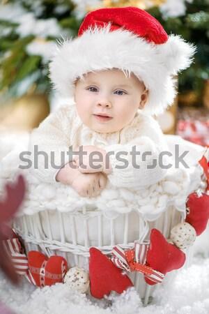 Alegre criança sessão natal trenó criança Foto stock © konradbak