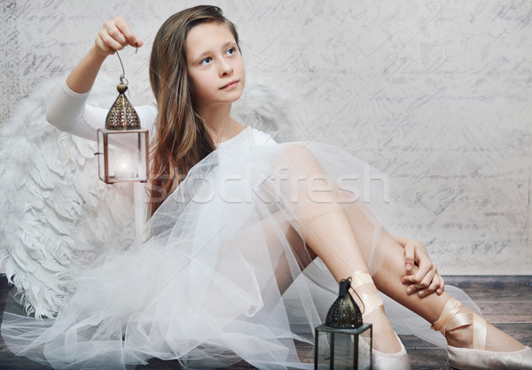 Art photo of young ballet dancer with lamp Stock photo © konradbak