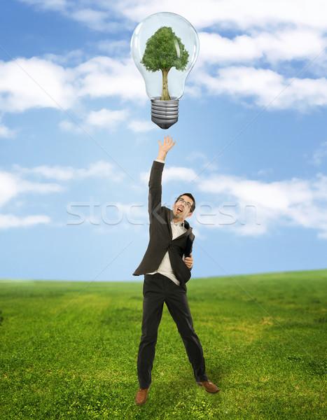 Zakenman groene energie symbool boom gras springen Stockfoto © konradbak