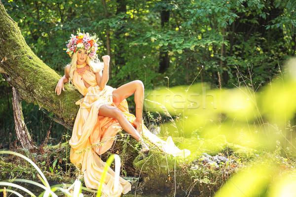 Forest nymph with an amazing chaplet on her head Stock photo © konradbak