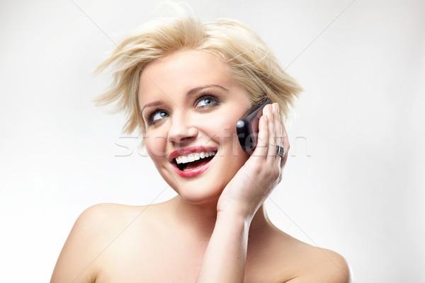 Zdjęcia stock: Piękna · telefonu · dziewczyna · oczy
