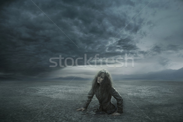 Lost woman in stormy day Stock photo © konradbak