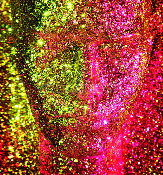 Csillogó arany fej próbababa szobor arc Stock fotó © konradbak