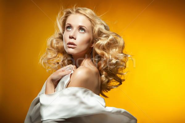 Portré gyönyörű szőke nő portré nő nap Stock fotó © konradbak