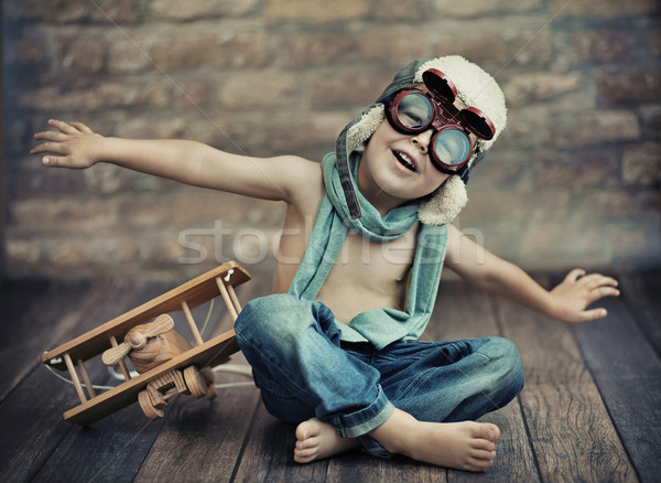 Small boy playing Stockfoto © konradbak