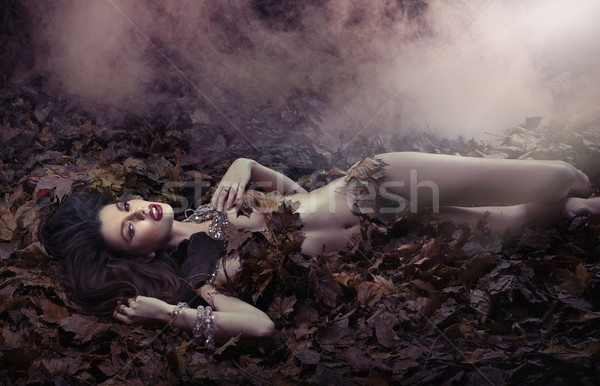Fantastic shot of sensual woman on the leaf's duvet Stock photo © konradbak
