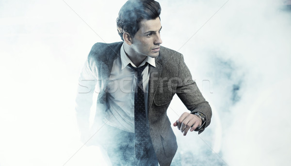 Old fashion style photo of handsome man Stock photo © konradbak
