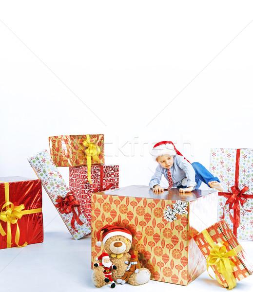 Stock foto: Wenig · cute · Junge · Sitzung · Geschenk · Weihnachten