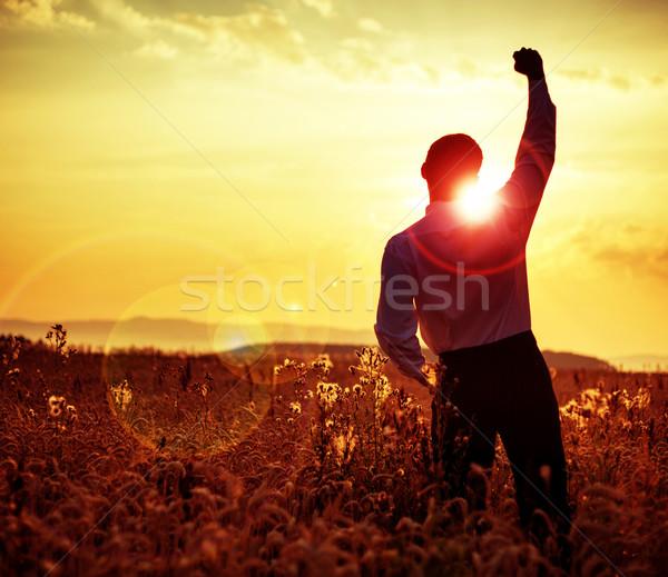 Stock fotó: Derűs · üzletember · néz · napfelkelte · naplemente · nyár