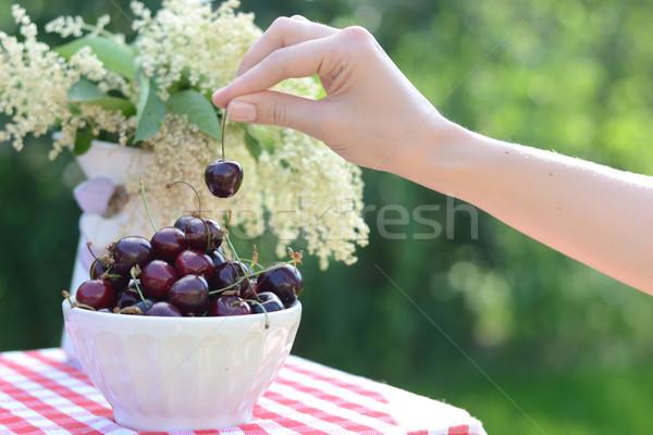 Bright bowl full of sweet cherries Stock photo © konradbak