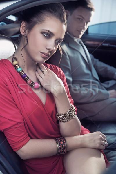 красивый элегантный пару роскошь автомобиль Сток-фото © konradbak