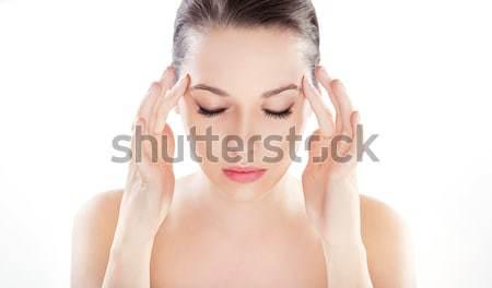 Belo jovem senhora saudável limpar pele Foto stock © konradbak