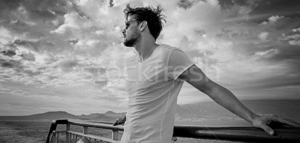 Portret knap jonge man jonge vent water Stockfoto © konradbak