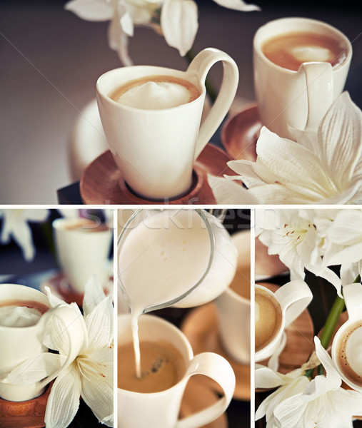 Stock photo: Coffee cups with flowers