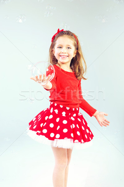 мало Принцесса мыльные пузыри Cute счастливым глазах Сток-фото © konradbak
