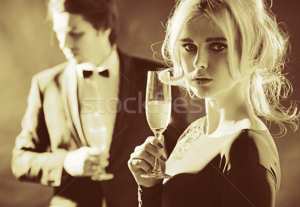 Stockfoto: Portret · paar · luxe · partij · gelukkig · glas