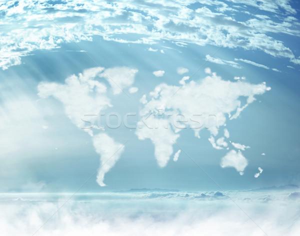 Conceptual picture of dense clouds in the worldwide shape Stock photo © konradbak