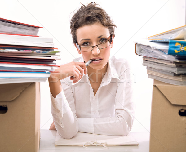 Preocupado secretario oficina nina trabajo belleza Foto stock © konradbak
