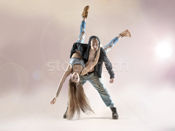 Young dancers practising to the contest Stock photo © konradbak