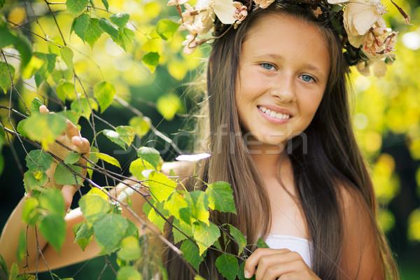 Portrait of pretty young forest nymph Stock photo © konradbak