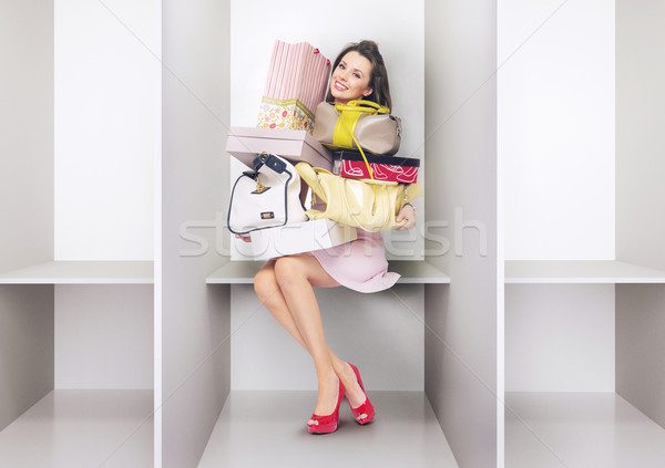 Attractive lady in the changing room Stock photo © konradbak