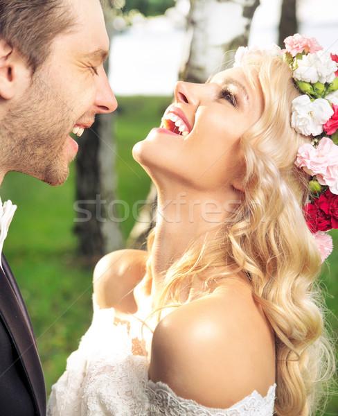 Portrait of the just married couple Stock photo © konradbak