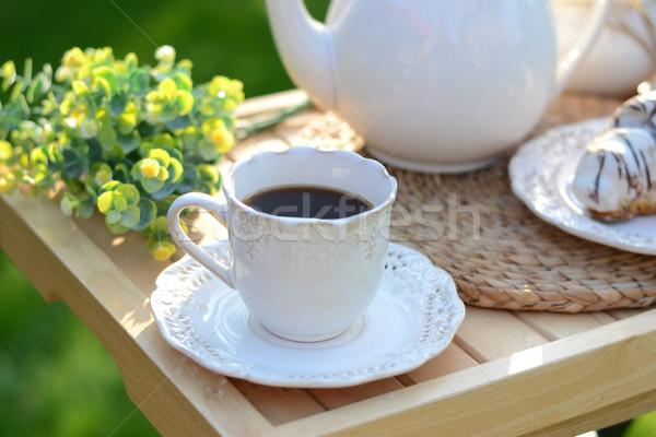 Stock fotó: Francia · reggeli · desszert · croissantok · kávé · gyümölcs