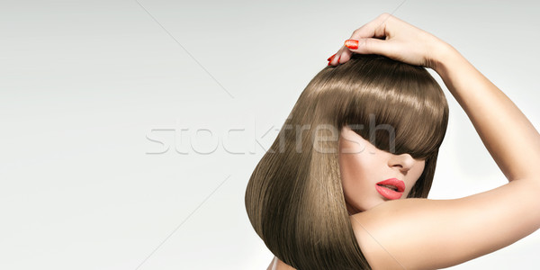 Closeup portrait of the the woman with trendy coiffure Stock photo © konradbak