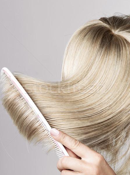 Blond hairpiece brushed by a woman Stock photo © konradbak